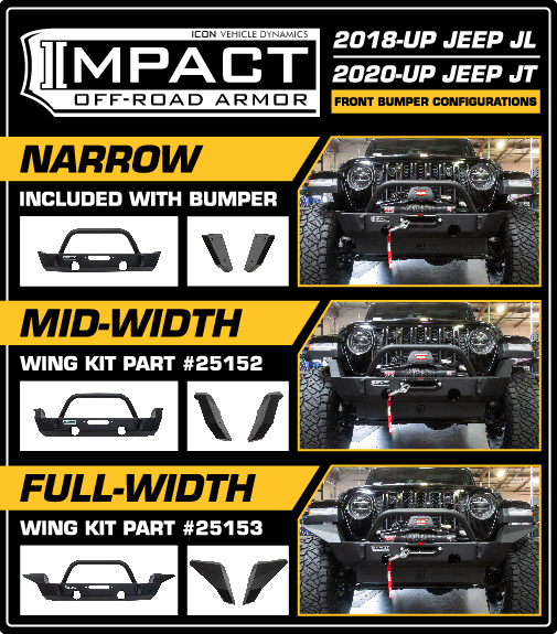 ICON Impact Series Jeep Front Bumper Options